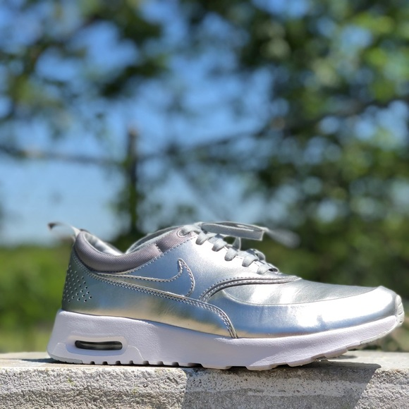 Nike Air Max Thea in metallic silver leather